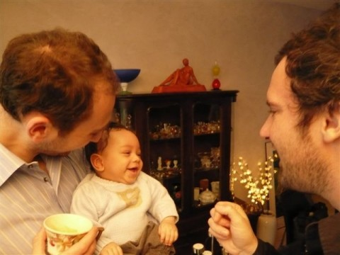 Achille, son Papa et Tonton SImon